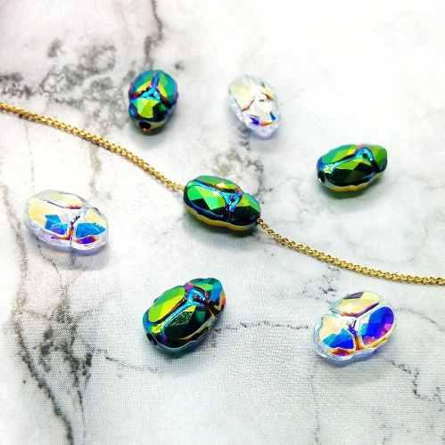 Collar Escarabajo Swarovski Con Cadena Chapa De Oro De 22k