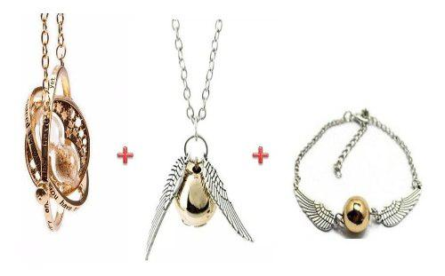 Collar Giratiempo Harry Potter + Collar Y Pulsera Snitch