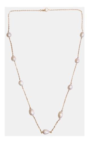 Collar Largo 70 Cm Con Perla Cultivada En Chapa De Oro A013
