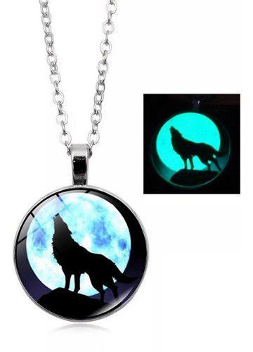 Collar Lobo Luna Llena Brilla Oscuridad Collares Brillantes