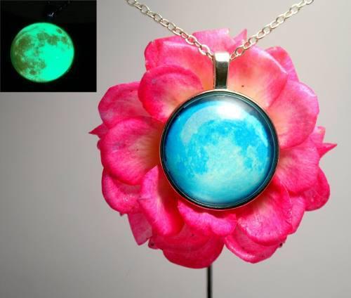 Collar Luna Llena Brilla En La Oscuridad Envió Gratis
