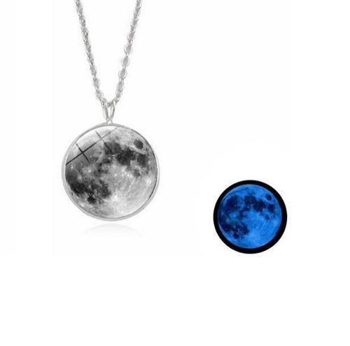 Collar Luna Llena Brilla En La Oscuridad Regalo Mujer Moda