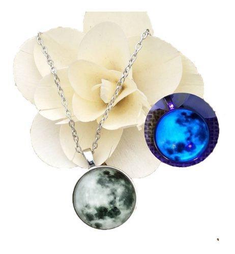 Collar Luna Llena Gris Brilla En La Obscuridad Regalo Novia