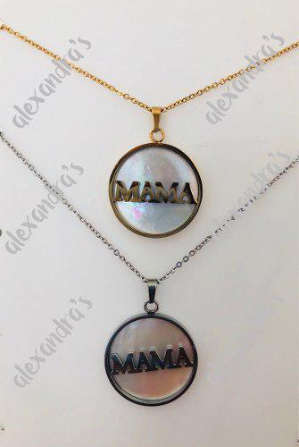 Collar Mama Acero Inoxidable Con Madre Perla Dorado Y Plat