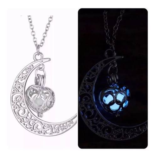 Collar Media Luna Corazón, Brilla Y Cadena
