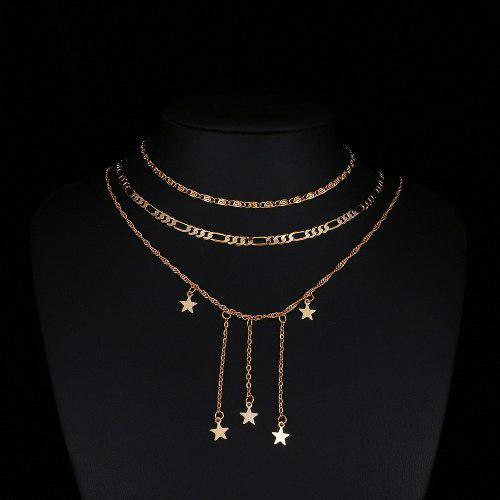 Collar Multicapa Color Dorado Con Adornos De Estrellas
