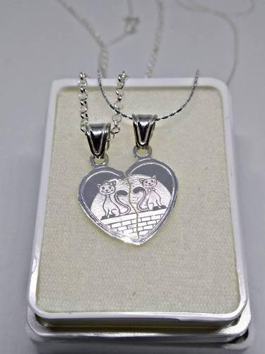 Collar Plata Ley 925 Corazón Pareja 14 Febrero Amor Amistad
