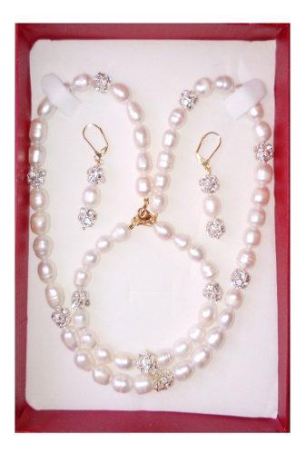 Collar Pulsera Aretes De Perla Cultivada Tornasol A020