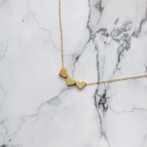 Collar Triple Corazón Mini Regalo Pareja Chapa De Oro 22k