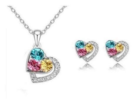 Collar Y Aretes Corazón Multicolor Swarovski Elem Oro18kgp