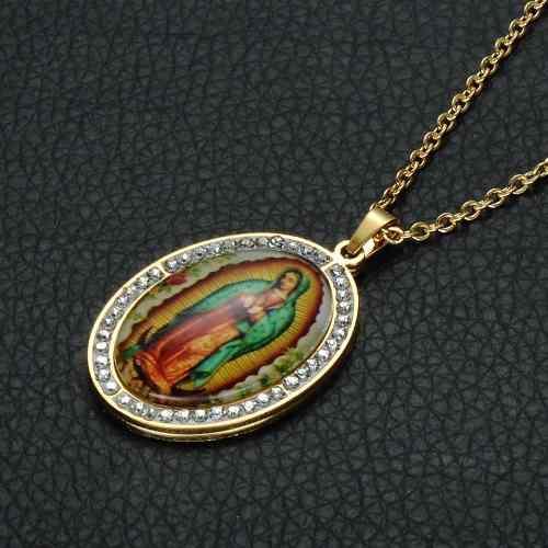 Collar Y Dije Acero Inoxidable Virgen De Guadalupe Catolica