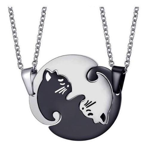 Collar Yin Yang Gatos Acero Inoxidable Novios Pareja