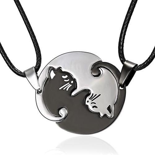Collar Yin Yang Gatos Cuerda Novios Pareja Inoxidable Oferta