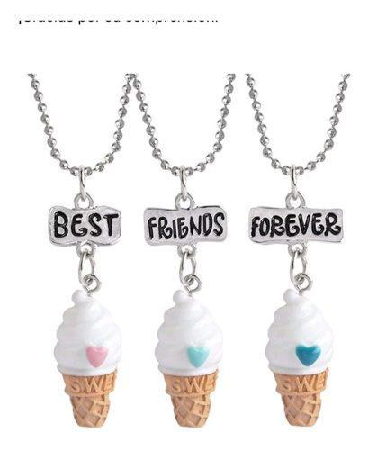 Collares Tres Amigos Helados Kawaii Bff Amistad Pareja Amor