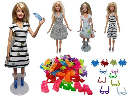 Conjunto De 10 Vestidos Barbie 4 Gafas 6 Collares 10 Zapatos