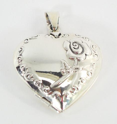Corazón De Rosa Dije De Plata Relicario Guardapelo Ley.925