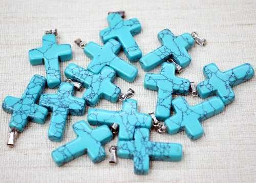 Crucifijo Cruz Turquesa Azul Natural Dije Unisex 25mmx18mm