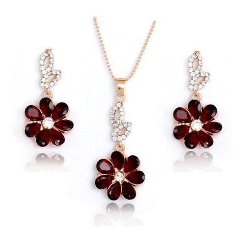 Dije Collar Y Aretes Preciosa Flor Cristal Swarov Elements