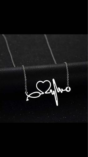 Dije Con Cadena Electrocardiograma Plata 925 De Ley