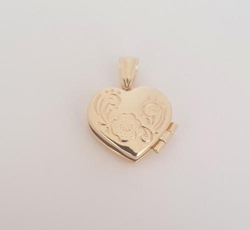Dije Corazón Relicario Oro Sólido 10k