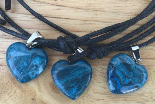 Dije Corazón Ónix Azul Natural Collar Nudo Corredizo
