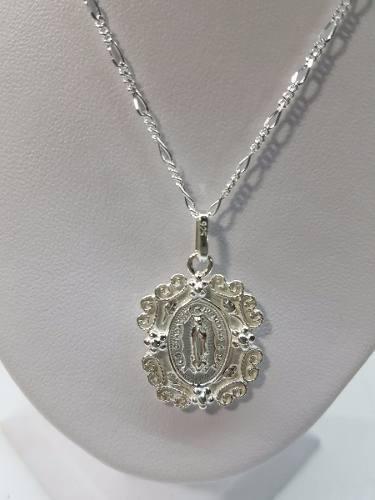 Dije De La Virgen De Guadalupe Plata Ley.925 Incluye Cadena