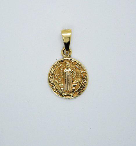 Dije De Oro 14 Kilates Medalla Cruz San Benito
