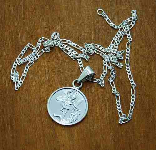 Dije De Plata, Medalla De San Miguel Arcangel Con Cadena