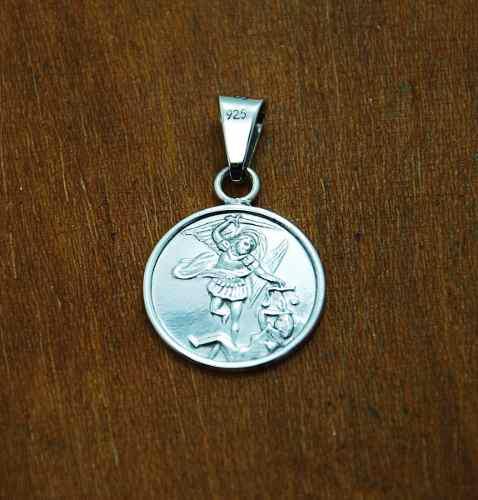 Dije De Plata, Medalla De San Miguel Arcangel Con Grabado