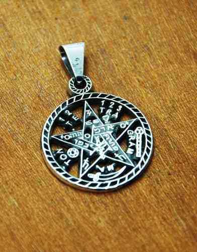 Dije De Plata Tetragramaton Calado Grande