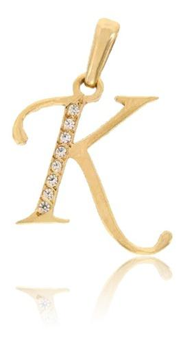 Dije Inicial Letra K Con Circonias Oro 14 K + Obsequio