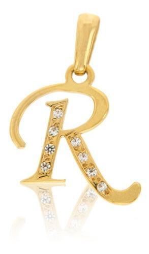 Dije Inicial Letra R Con Circonias Oro 14 K + Obsequio