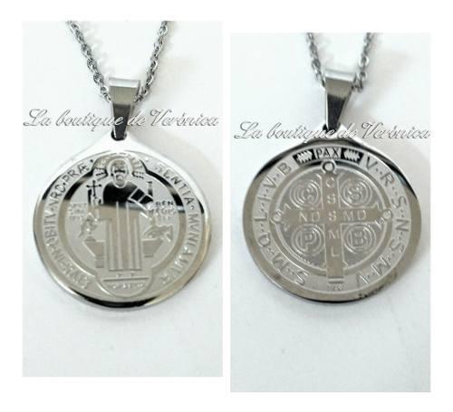 Dije Medalla San Benito Mediana Acero 316 L Con Cadena