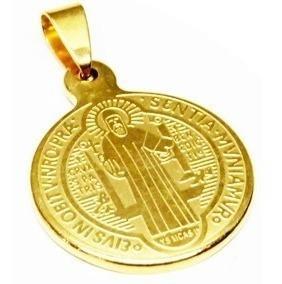 Dije Medallon Dorado De San Benito Acero Inoxidable Religion