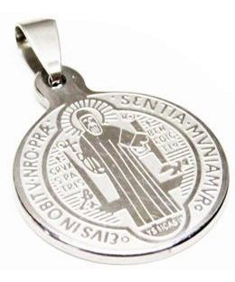 Dije Medallon Plateado San Benito Acero Inoxidable Religion
