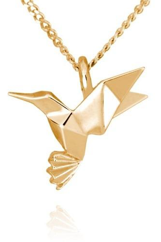 Dije Origami Colibrí De Plata Con Acabado En Oro
