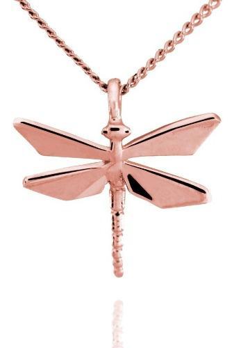 Dije Origami Libélula De Plata Con Acabado En Oro Rosa