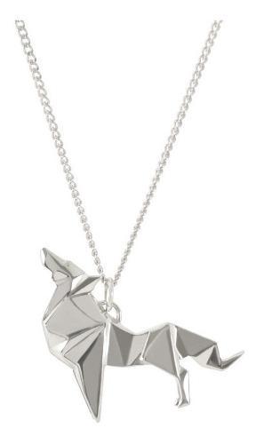 Dije Origami Lobo De Plata
