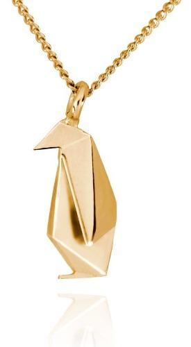 Dije Origami Pingüino De Plata Con Acabado En Oro
