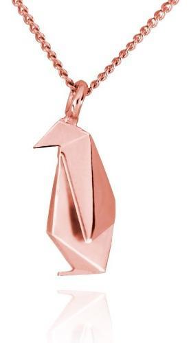 Dije Origami Pingüino De Plata Con Acabado En Oro Rosa