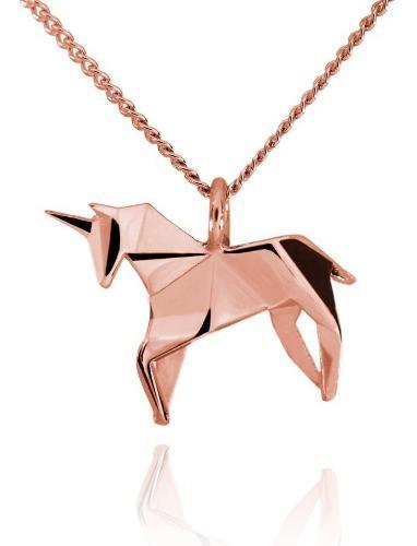 Dije Origami Unicornio De Plata Con Acabado En Oro Rosa