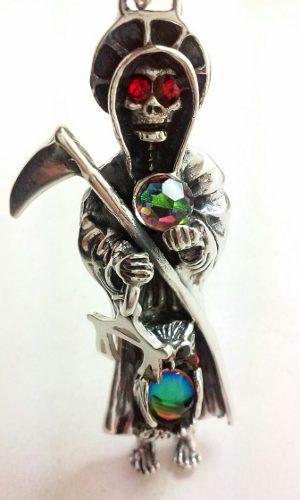 Dije Santa Muerte Grande En Plata Solida Ley.925 Pesada !!