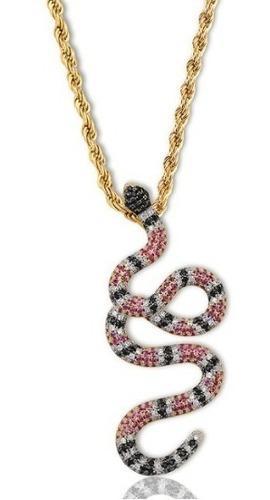 Dije Serpiente Diamantada Cadena Torsal Oro Laminado Collar