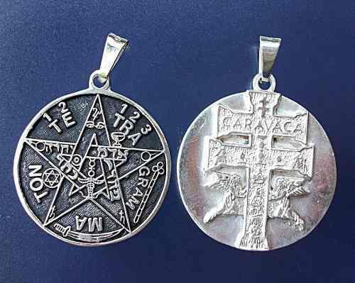 Dije Tetragramaton Y Cruz Caravaca En 1 Plata Fina Ley.925