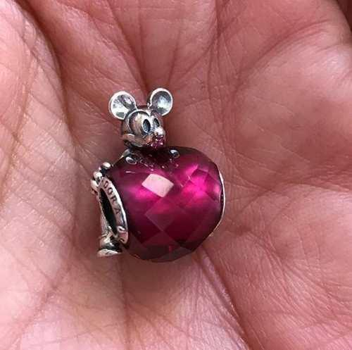 Disney Mickey Love Heart Charm Pandora 100%plata