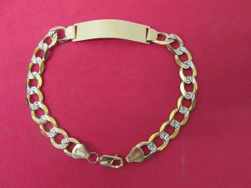 Esclava Caballero Oro Sólido 10 Kilates Diamantada 23 Cm.