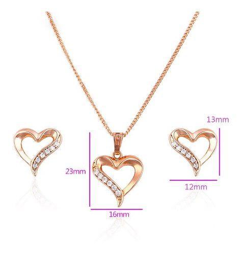 Fino Collar + Aretes De Corazón Con Swarovski Oro 14k Lam