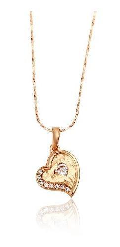 Fino Collar Corazón Swarovski De Oro Rosa 14k Lam+estuche