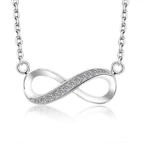 Fino Collar Del Amor Infinito Dije Plata 925 Swarovski Novia