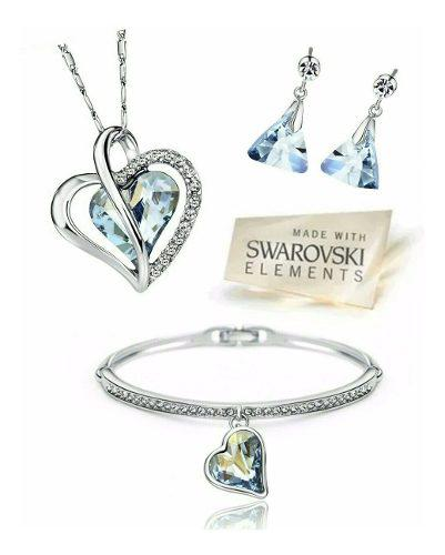 Fino Set Corazón Swarovski Elements 3 Piezas Oro18kgp